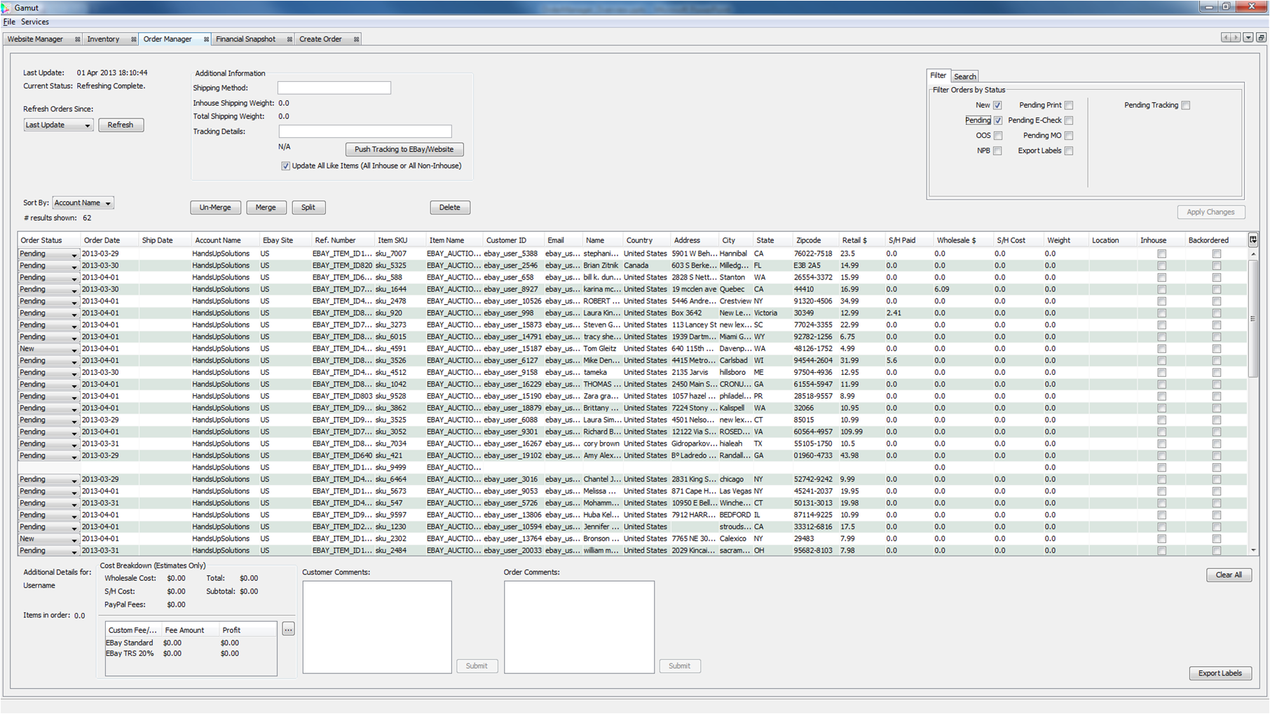 Gamut Order Manager Screenshot